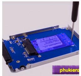 """Chuyển SSD msata - Sata 22p 2.5"""" Kingshare nhôm bạc dày 7mm"""