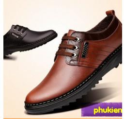 Giày da nam mùa thu đông cổ thấp lót nhung G002